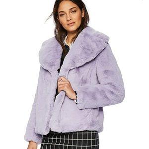 Kensie Faux Fur Short Coat - Lilac